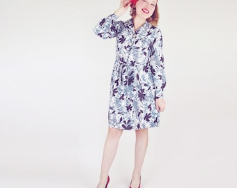 70s Shades of Grey Leaf Print Shirtwaist Dress with Belt S