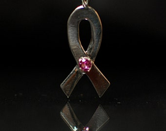 Silver Ribbon Pendant with Synthetic Pink Tourmaline