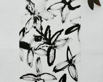 Illustration, Original Chinese ink, floral drawing, flowers, Rottenman editions