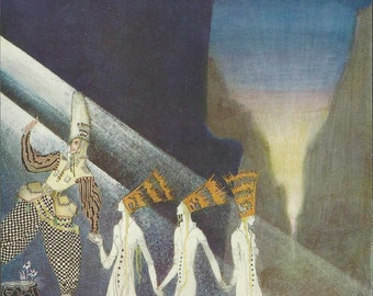 1914 Original beautiful tipped-in plate by Kay Nielsen for 'East Of The Sun And West Of The Moon' First American trade edition! Very Scarce!