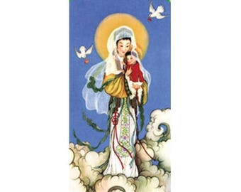 3 Sheets of 8 Our Lady of China Micro-Perforated Holy Cards - Print Your Own Prayer Card