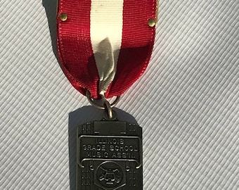 Vintage Ribbon Award, Ensemble Band Medal, 80's Red and White Pin, Illinois Grade School Music Ass'n