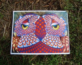 OWL ART PRINT / Psychedelic / Sacred Geometry / Owls Painting Paper Print
