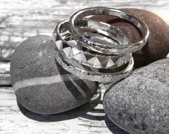Sterling silver stacking ring set, 3 ring set, textured ring set