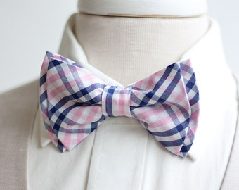Bow Tie, Mens Bow Tie, Bowtie, Bowties, Bow Ties, Bowties, Plaid Bow Tie, Groomsmen Bow Ties, Wedding Bow Ties, Ties - Navy And Pink Plaid