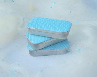 Needle Tin, Blue Polka Dot Decoupage, Needle Keeper, Pin keeper, Cross Stitch Gift, Sewing Storage
