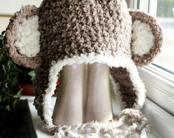 3 to 6m Baby Monkey Hat Baby Hat Crochet Earflap Hat Brown Cream Monkey Beanie Monkey Ears Earflap Beanie Baby Photo Prop