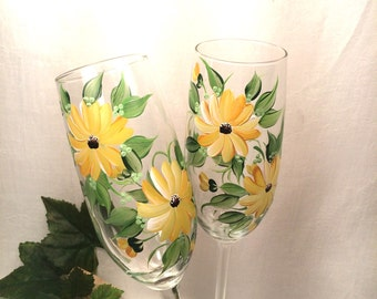 Black Eyed Susan hand painted pair of champagne flutes free shipping
