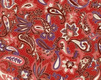 Chiyogami or yuzen paper - magenta and mauve floral paisley, 9x12 inches
