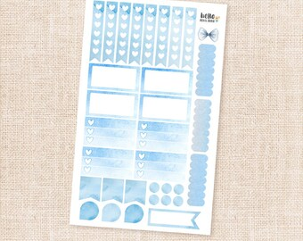 Blue watercolor sticker sampler set - Functional matte planner stickers