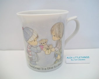 Precious Moments Mug Christmas Is A Time To Share 1984 Boys Exchanging Gifts