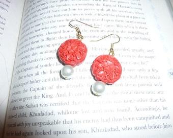 Red Cinnabar and Pearl Earrings