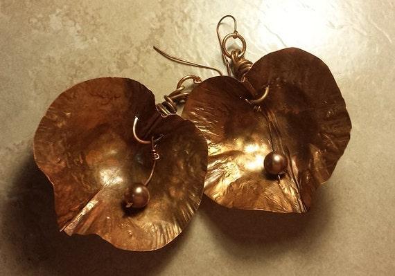 Copper Pod with Pearl Earrings