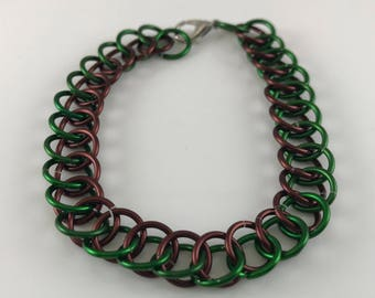 Sale 25% off Brown and Green Half Persian Chainmaille Bracelet