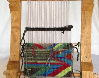 Hand crafted small loom.  Perfect for learning to weave.  Tutorial video and written illustrated instructions.