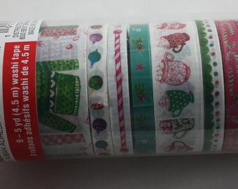 Christmas Washi Tape Tube Set of 9 Recollections Ugly Sweater There's Snow Place Like Home Hot Chocolate Candy Canes Holly Ornaments