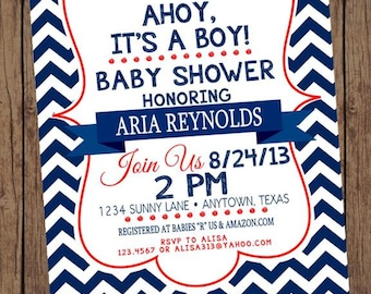 Chevron Nautical Baby Shower Invitations - 1.00 each with envelope