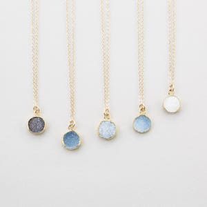 Tiny Round Druzy Pendant Necklace / Gold Edged Stone on 14k Gold fill Chain / Druzy Tiny Crystals Genuine Simple Gemstone Necklace / LN723