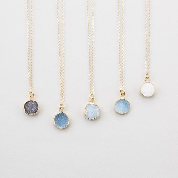 Tiny round druzy pendant necklace gold edged stone on 14k aloadofball Images