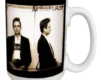 Johnny Cash Mug. Large 15 ounce coffee mug, comfortable handle. The man in black. Image printed on both sides Dishwasher & microwave safe.