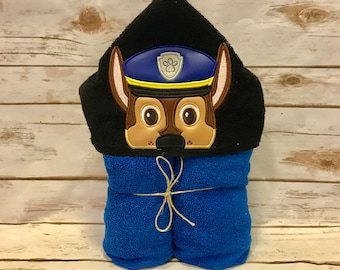 Hooded Towel, Paw Patrol Hooded Towel, Paw Patrol Bath Towel, Bath, Bathroom, Paw Patrol Towel, Chase Hooded Towel