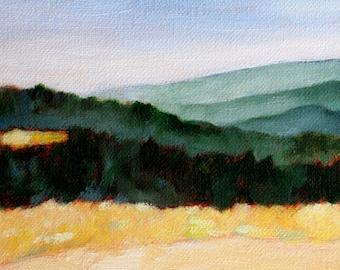 Landscape oil painting print 8 1/2 x11 California landscape Ridge view of Skyline