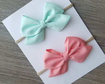 2 pack mint sailor bow, mint bow, light coral bow, light coral sailor bow, big sailor bows