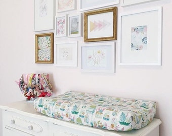 Girls Baby Bedding - Succulent Fitted Crib Sheets / Floral Baby Sheet / Changing Pad Covers / Bohemian Nursery Crib Sheets Etsy