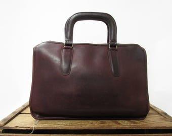 Coach Vintage Rare Burgundy Leather Slim Satchel Bag Elegant NYC Attache Purse