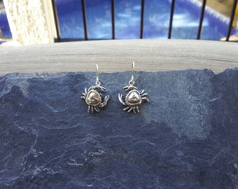 No.119 .950 Sterling Silver Crab Dangle Earrings