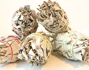 5 pk - Bulk Smudge California White Sage Stick 4' Bundles for Smudging Cleansing Blessing Negativity Clearing