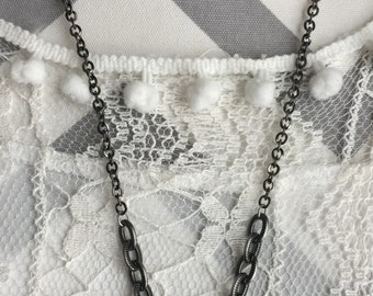 Gunmetal chain-necklace-necklaces-mix and match-charm necklace-toggle closure