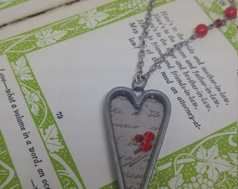 Love Letter - heart shaped antique silver resin pendant with old scripted paper and Swarovski crystals