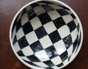 Op art chequered black and white bowl, handthrown, handpainted