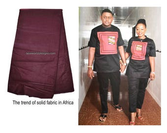 Solid fabric by the yard/ Polished cotton, made in Africa/ brown solid fabric/ African fabric SF04