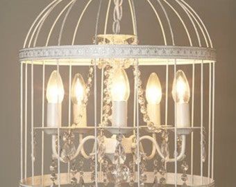 Metal cage chandelier