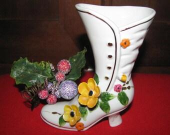 Vintage Royal Crown Victorian porcelain Boot
