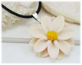 Large Daisy Choker Necklace - Black Cord Large Daisy Necklace, Daisy Jewelry