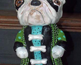 Folk Art Pottery English Bulldog Container Cookie Jar Whimsical One of a Kind Pottery Jug Dog halloween Christmas
