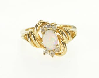 14k Opal* Diamond Accented Wavy Curvy Bypass Ring Gold