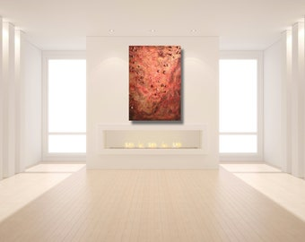 Depths of the Red Sea - 3 ft x 4 ft Original Mixed Media Textured Acrylic Contemporary Painting by Everilde