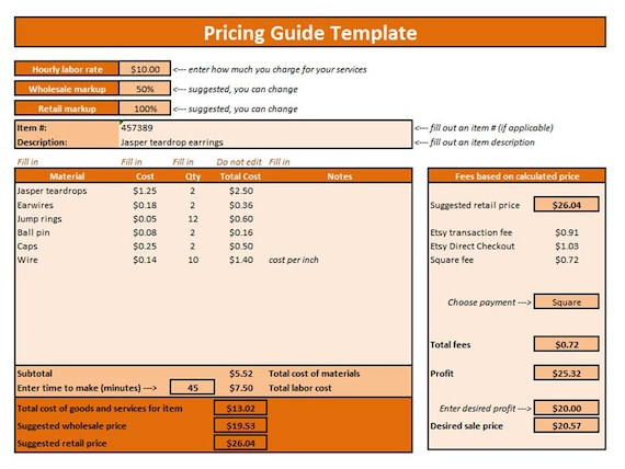 Etsy Pricing Guide Excel Template Pricing Template Pricing
