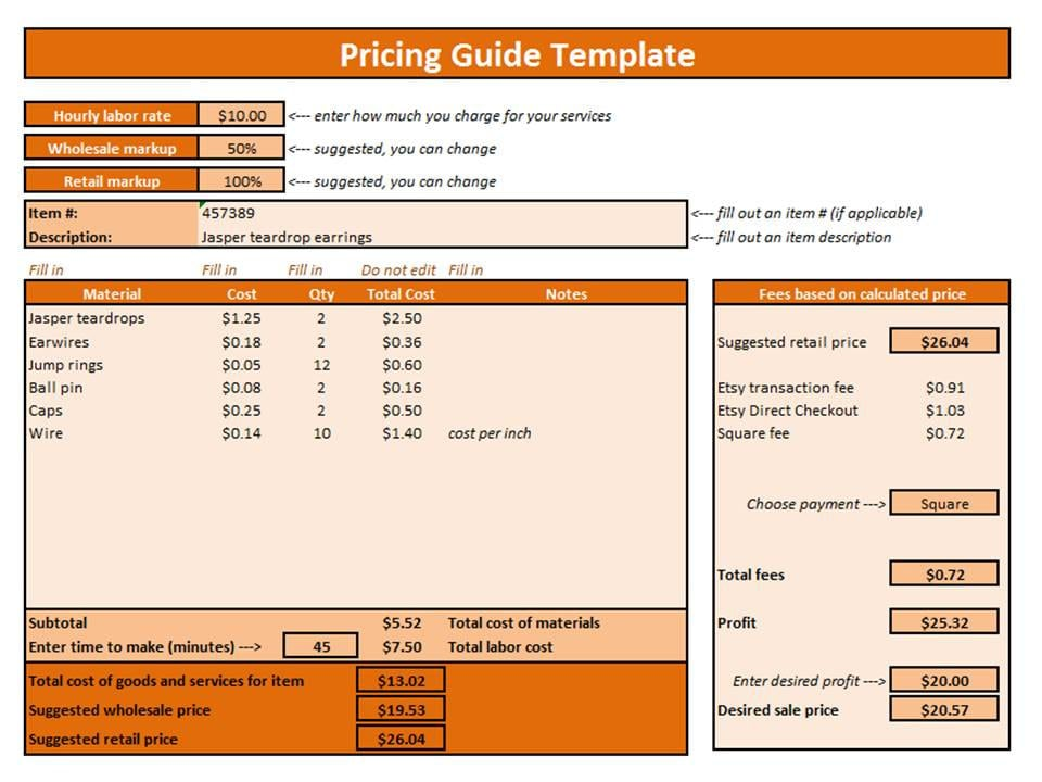 Etsy Pricing Guide Excel Template Pricing Template Pricing Guide