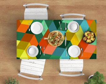 Tablecloth - Original design Tablecloth, rectangle tablecloth, designer tablecloth, colorful tablecloth, modern tablecloth