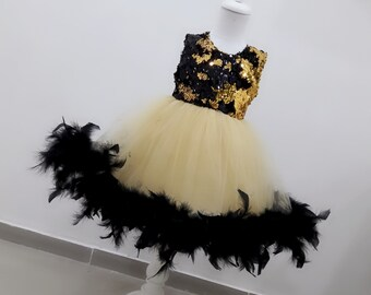 Girls luxury feather tulle dress, girls party dress, girls sequin feather dress