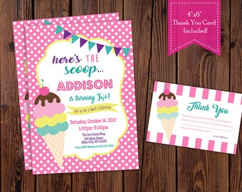Ice Cream Birthday Party Invitation, Ice Cream Social Invitation (Hot Pink)-Digital