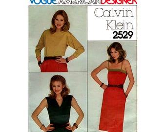 Vogue American Designer 2529 CALVIN KLEIN Womens Summer Tops Camisole & Wrap Skirt 80s Vintage Sewing Pattern Size 10 Bust 32 1/2 Inches