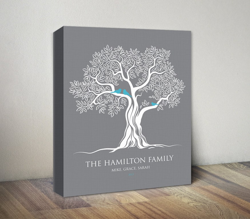 Wedding Tree Genealogy Chart By Melangeriedesign On Etsy: Gray Family Tree Canvas Print Birds On Tree Personalized