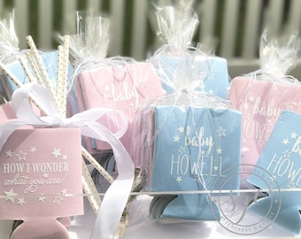 Gender Reveal Baby Shower Favors | Personalized Can Coolies | Monogram Can Sleeves | Can Insulator | Baby Party Favors | Made to Order Gifts