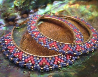 Brick Stitched Hoop Earrings with Scalloped Edging - Native Made - Penobscot Tribe